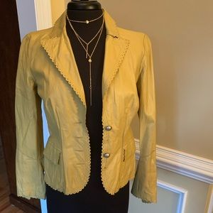 CAMI SCALLOPED LEATHER JACKET SZ 6